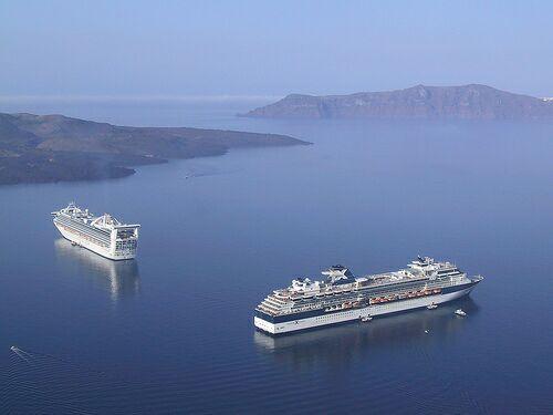 Ferries in Santorini caldera