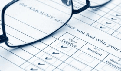 Review form showing excellent quality of services