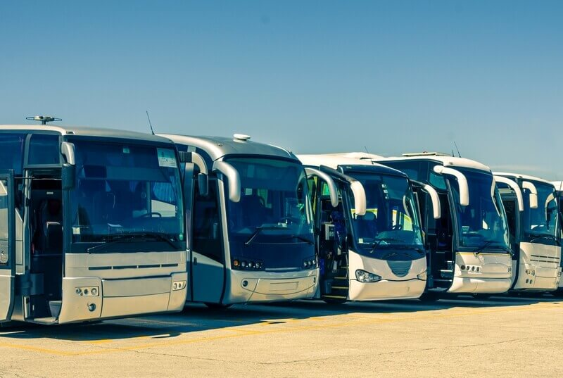 Touristic buses for organized land tours